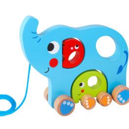 Tooky Toy Ξύλινα Συρόμενα Ελεφαντάκια (TY321)