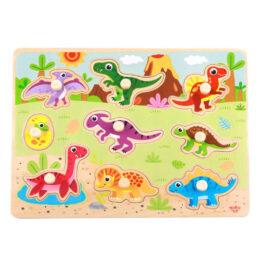 Tooky Toy Ξύλινο Πάζλ Σφηνώματα Δεινόσαυροι (TY859)