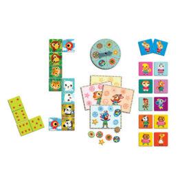 Djeco Σετ 3 Επιτραπέζια Παιχνίδια – Little Friends Ντόμινο – Μπίνγκο – Μέμο (08131)
