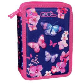 Διακάκης Σχολική Κασετίνα Διπλή Γεμάτη Must Butterfly (000584124)