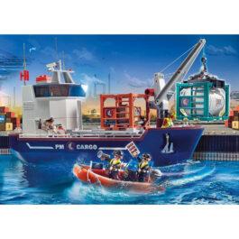 Playmobil Φορτηγό Πλοίο Και Ταχύπλοο Σκάφος Τελωνειακών (70769)